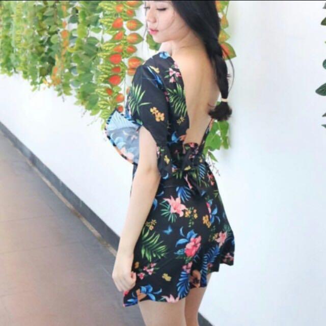 Floral Jumpsuit Backless