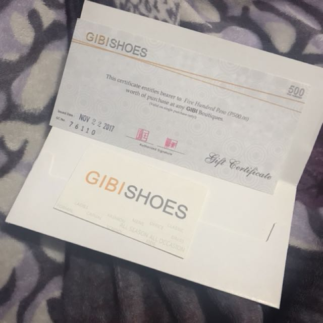 Gibi Shoes Gift Certificate 500php