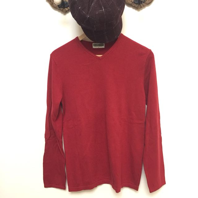 GIORDANO 紅色全棉上衣