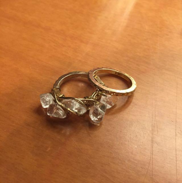 Gold Stone Ring Set