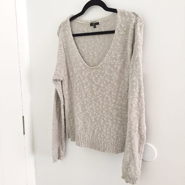 Grey Knit Sweater - L