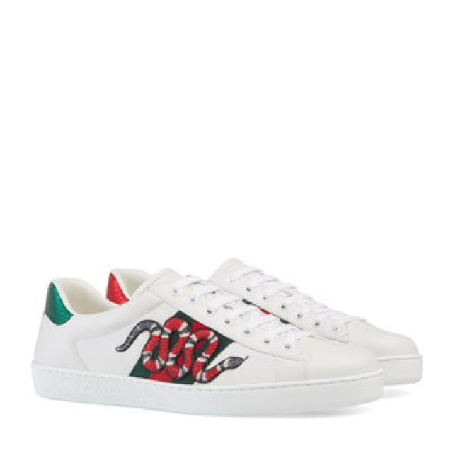 42cd72c0e GUCCI Ace Embroidered Ayers And Canvas-Trimmed Leather Sneakers ...