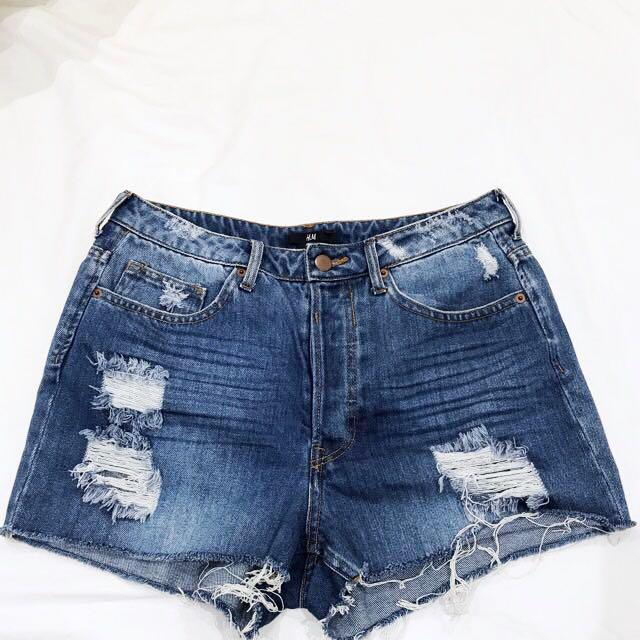 H&M Dark Wash Distressed Denim Shorts