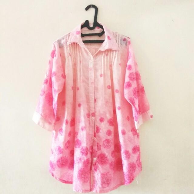 Kemeja Pink Floral Bigsize