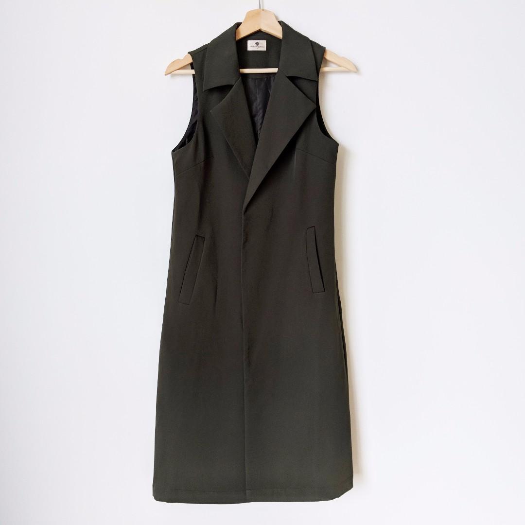 Khaki Longline Vest - shop rachelteetyler wardrobe
