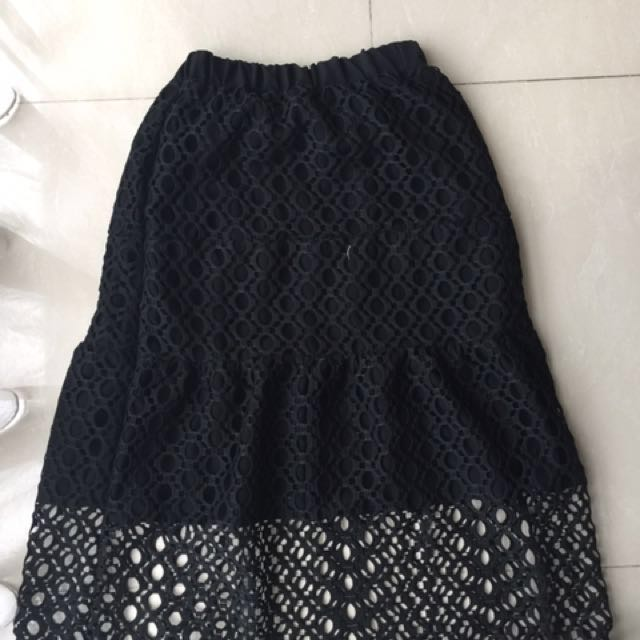 Kidnappedaily black Skirt Embroidery Rok Hitam Baru Authentic