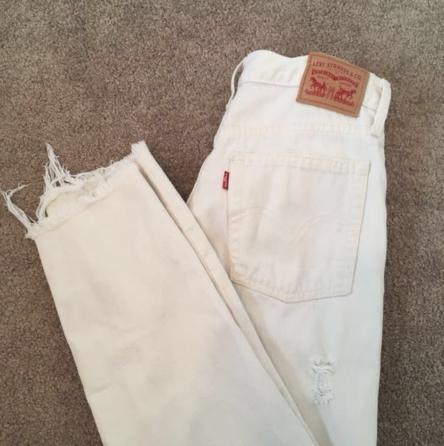 Levis White Distressed Denim Jeans Sz 26
