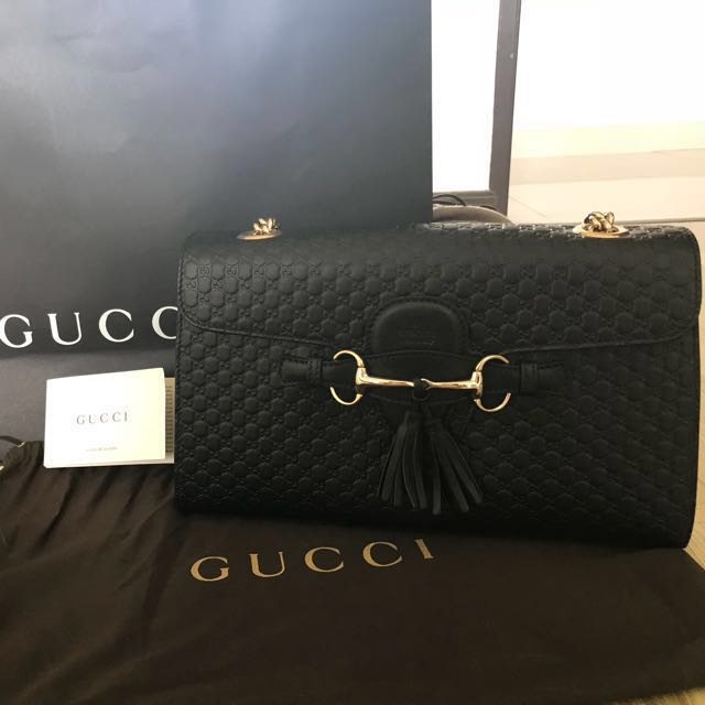 Limited period only!) New Gucci bag Authentic Emily Guccissima ...