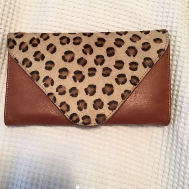 MANZONI Genuine Leather Wallet Purse Leopard & Brown