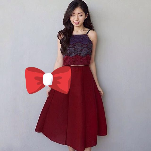 Maroon Red Lace Crop Top