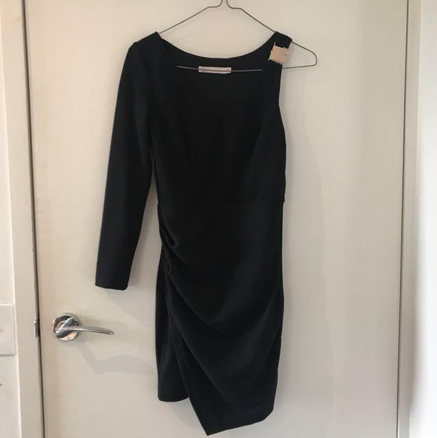 One sleeve little black dress