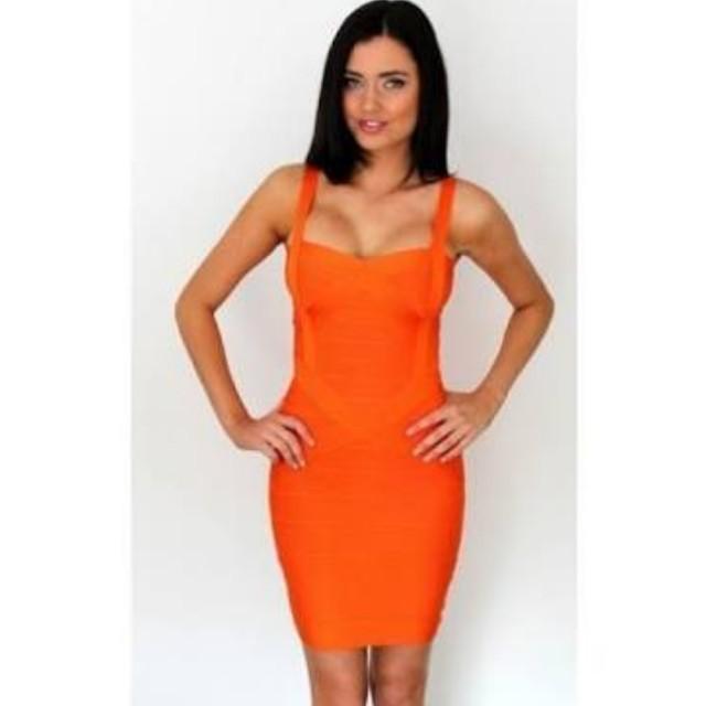 Orange simple Bandage dress - L