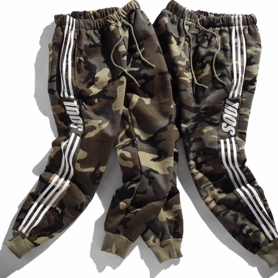 【Oscar】運動褲 休閒褲 縮口 棉質 束腳 加絨 男女 寬鬆 迷彩 情侶