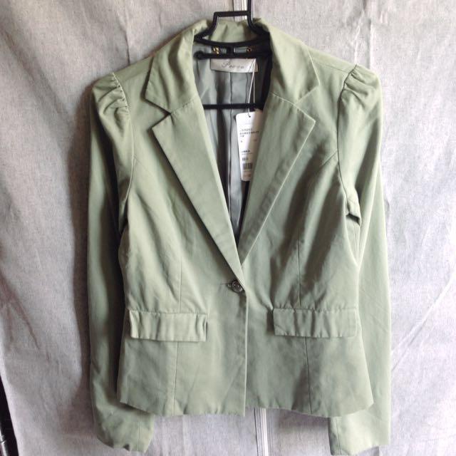 pazzo綠色水洗西裝外套