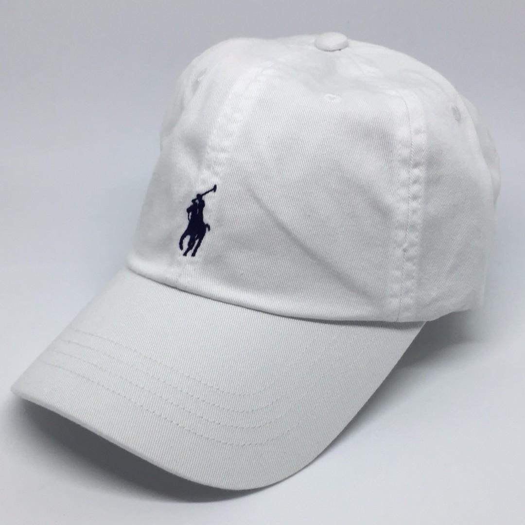 4d64c56b724 Polo Ralph Lauren Baseball Cap White with Navy Pony Cotton Chino ...