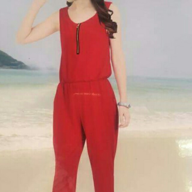 red zip up jumsuit