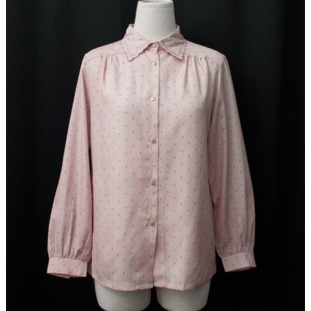 REreburn古著襯衫-粉紅底小藍點