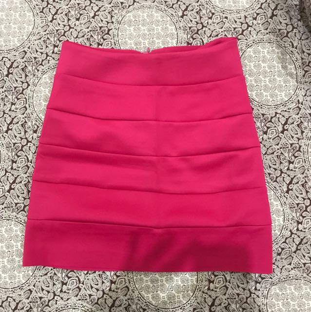 Shocking pink bandage skirt