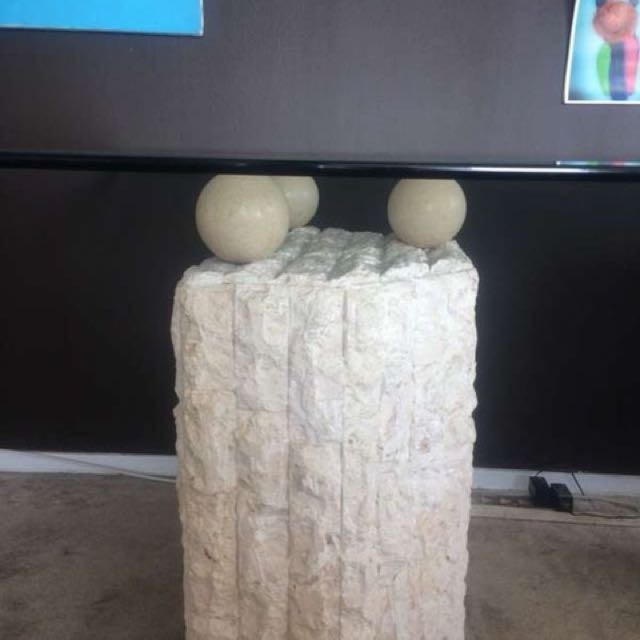 Stone Base Glass Table