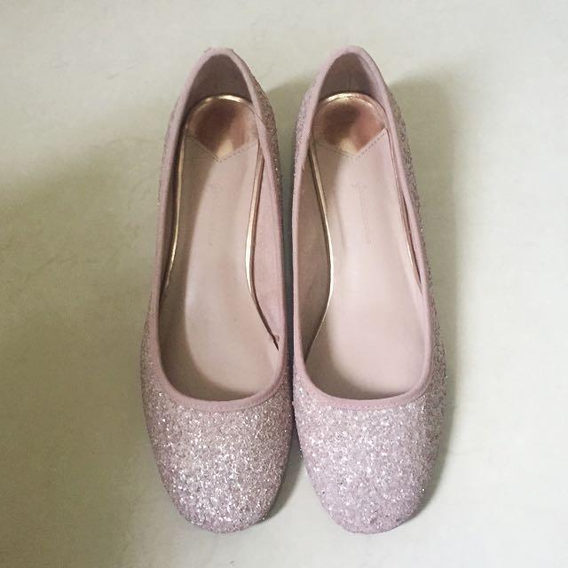 Stradivarius Pink Glitter Kitten Heels