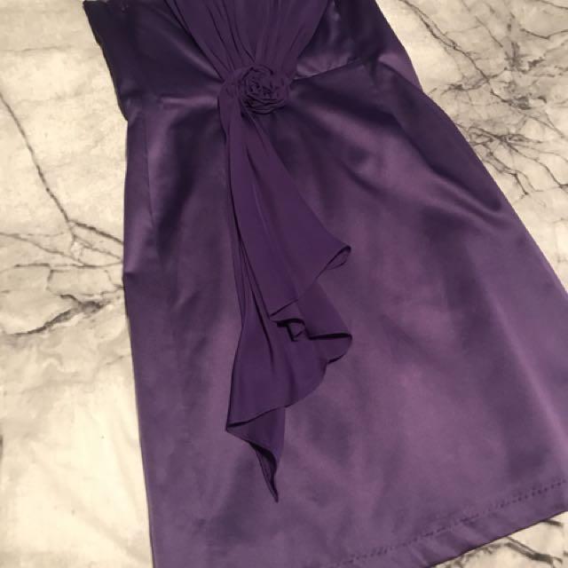 Strapless purple mini dress formal wear