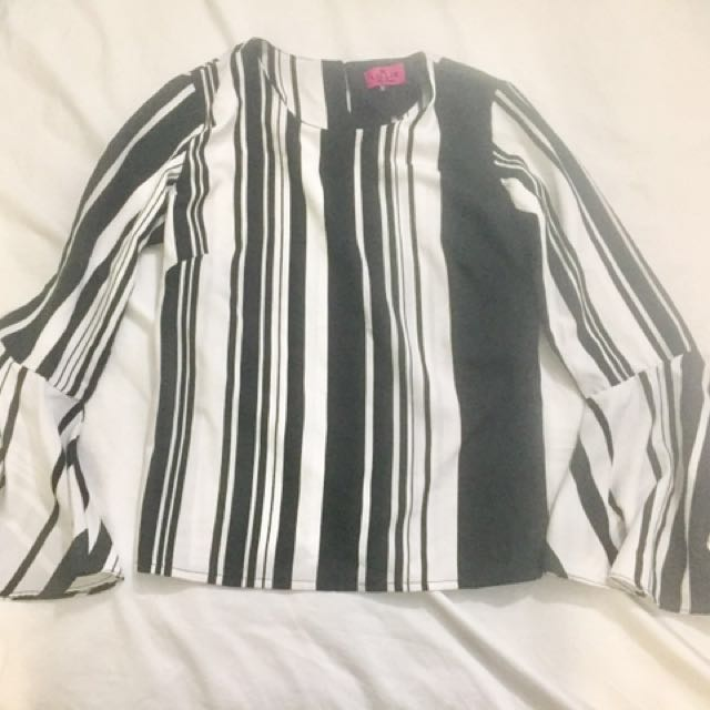 Striped Top with Flared Sleeves