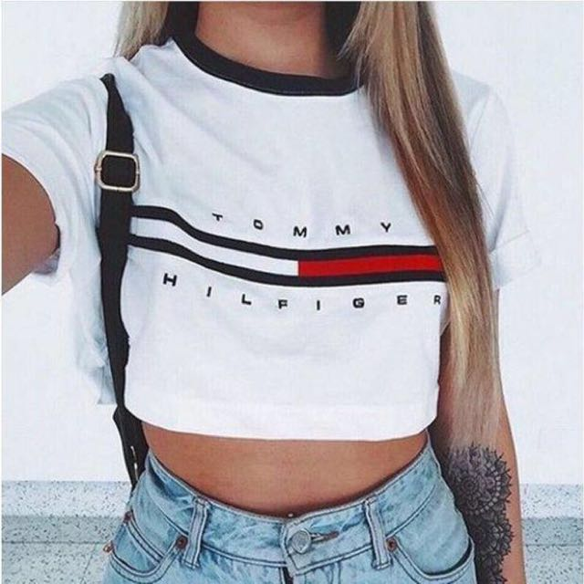 Tommy Hilfiger White Crop Letter and Logo Print