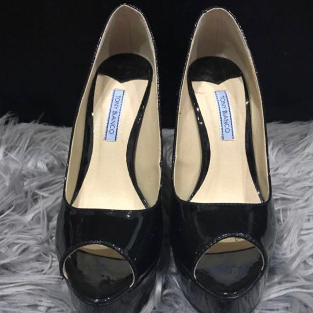 Tony Bianco black peep toe heels size 7