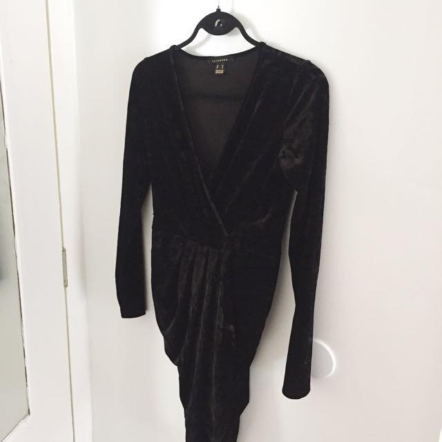 Velvet Wrap Dress - M