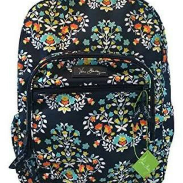 7b494cdbe5 Vera Bradley Campus Backpack Chandelier Fl Bag Laptop Navy