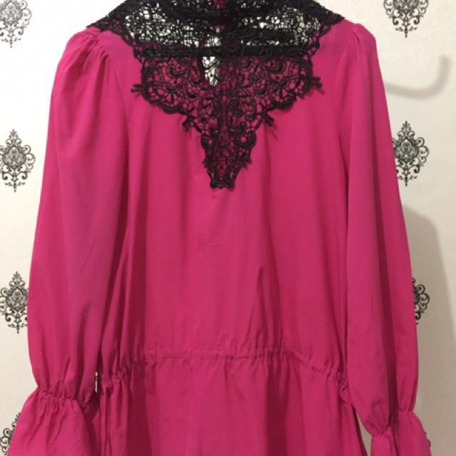 Vintage shocking pink blouse Size Fit to XL