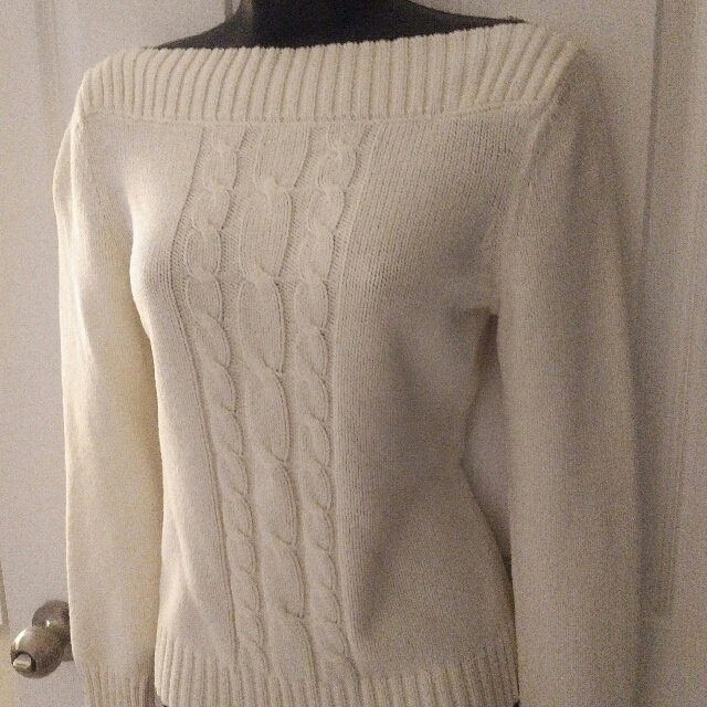 White Boatneck Sweater Size S