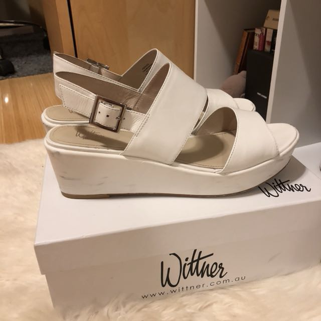 Wittner White Leather Platform Sandal AU10