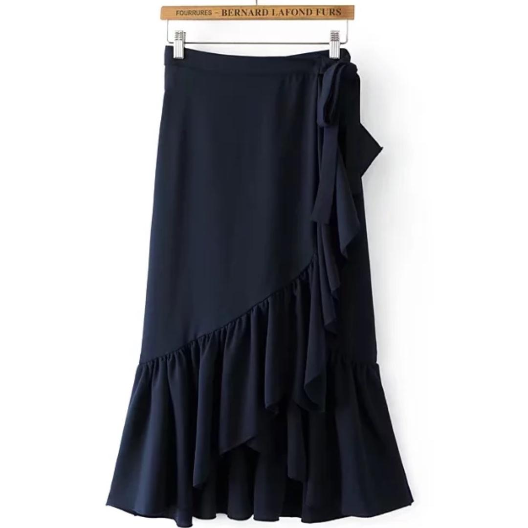 Wrap Style Midi Skirt