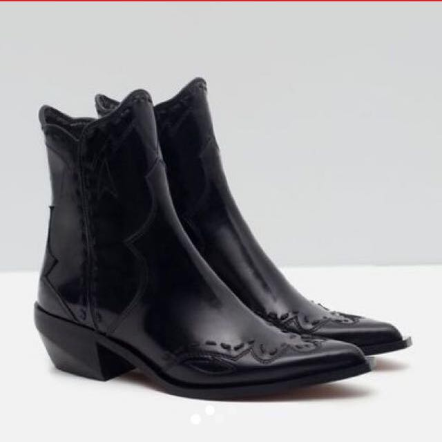 Zara Black Leather Detail Cowboy Boots