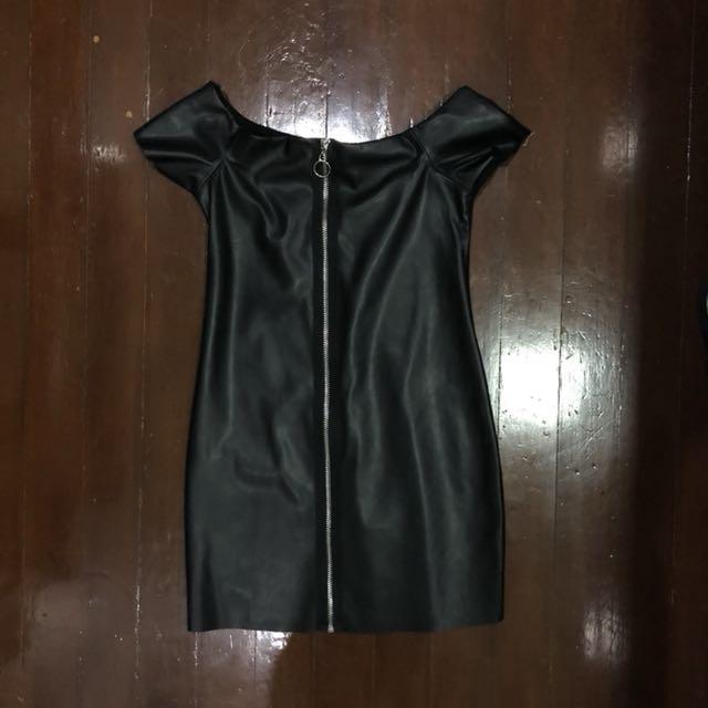 Zara Leather Off-Shoulder Dress