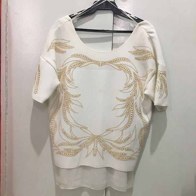 Zara White top with gold details