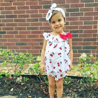 🌟INSTOCK🌟 2pc Red Cherry Collar Onesie Romper for Baby Toddler Girl Children Kids Clothing