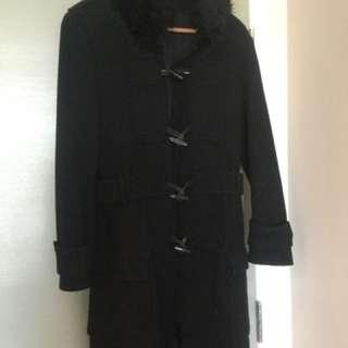 ZARA Black Wool Coat with Faux Fur & Pockets