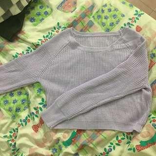 🚚 未穿過 淡紫色短版毛衣🌝 實體顏色接近第二張照片唷!