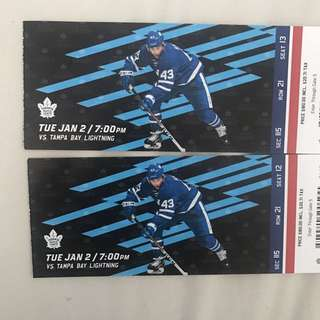 Two Toronto maple leaf tickets