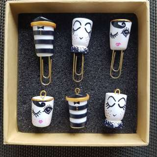 💯Handmade Alice & Olivia designs polymer clay paperclip stationery jewellery charms necklace keychains #1212yes
