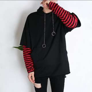 (Po) ulzzang harajuku 2 piece hooded sweater stripes sleeves