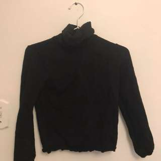 Cropped black turtle neck