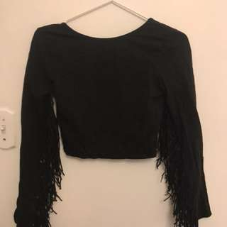 Zara fringe black crop top