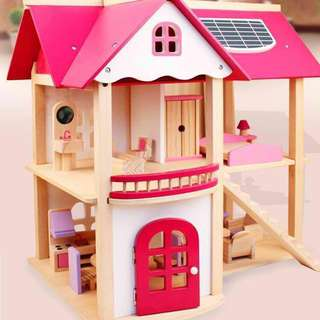Pink Wooden Toy Doll House