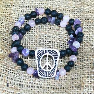 Twin band peace bracelet