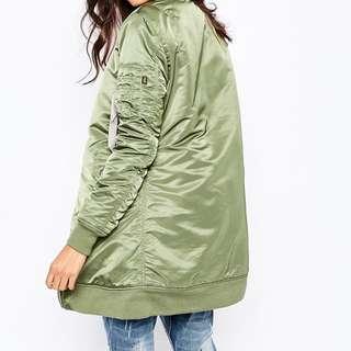 Long Green Bomber Jacket