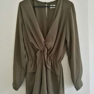 Morning mist Khaki playsuit