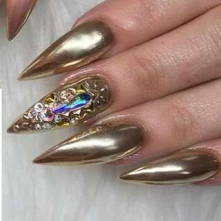 NEW RELEASE - GOLD CHROME PIGMENT POTS FOR NAIL ARTISTS